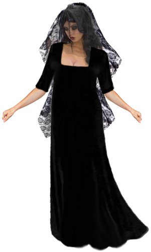 Sanctuarie Designs Women's Gothic Corpse Bride With Long Veil Plus Size Supersize Halloween Costume Dress/0x/Black/ - Corpse Bride Plus Size Costumes