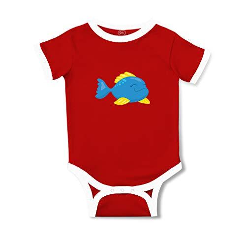 Fish Kids Ringer T-shirt (Blue Fish Short Sleeve Taped Neck Boys-Girls Cotton Baby Soccer Bodysuit Sports Jersey - Red, 18 Months)