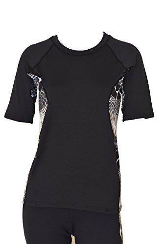 Private Island Hawaii Women UV Wetsuits Short Sleeve Rash Guard Top Black with Anaconda (Anaconda Suit)