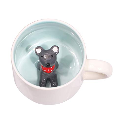 Mouse Gift - 3D Cute Cartoon Miniature Animal Figurine Ceramics Coffee Cup - Baby Animal Inside, Best Office Cup & Birthday Gift (Mouse)