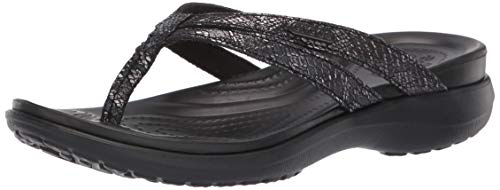 Crocs Women's Capri Strappy Flip Flop, Black, 9 M US