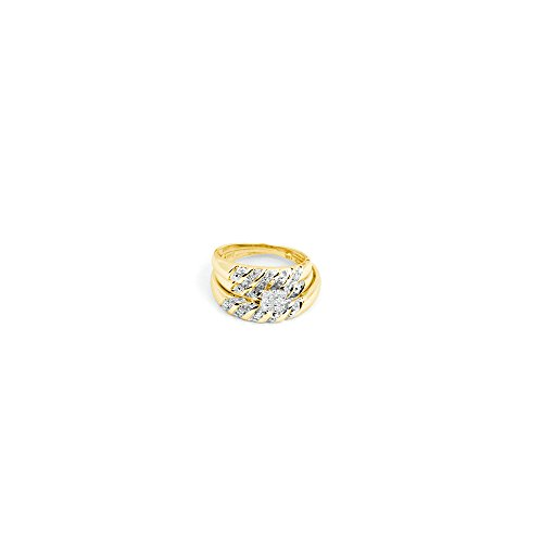 GND 14k Yellow Gold Square Cluster Diamond Matching Mens ...