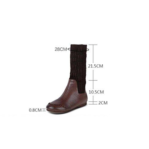 donne pelle appartamento 90 e BROWN in stivali scarpetta le piattaforma comodo a vera lunghi 160cm 36 velvet piegare qPUIw4yH