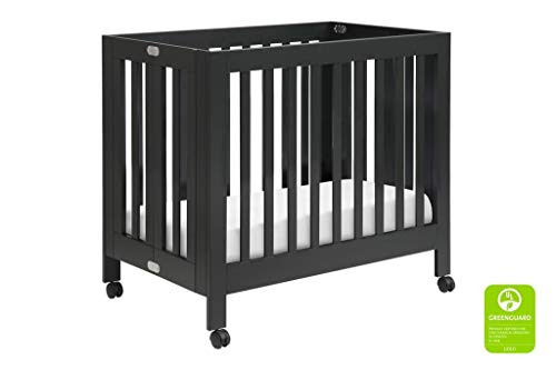Babyletto Origami Mini Portable Crib with Wheels in Black - 2 Adjustable Mattress Positions, Greenguard Gold