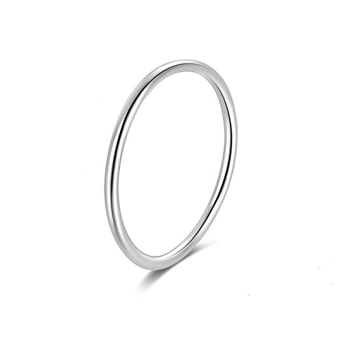 Candyfancy 925 Sterling Silver 1.2mm Stacking Midi Thin Rings Comfort Fit Wedding Band Ring Size 2.5-9 (Silver, 8) (Silver Wedding Band Sterling)