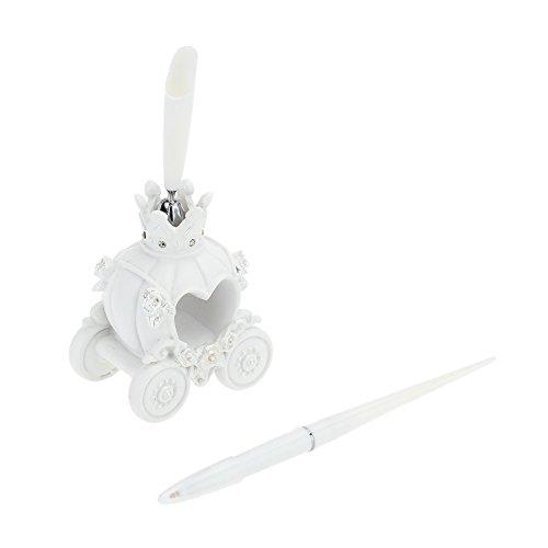 Galapara Wedding Pen - Resin Guest Signature Pen & Pen Holder Set with Packing Box for Wedding Engagement Bridal Shower-Pumpkin Coach