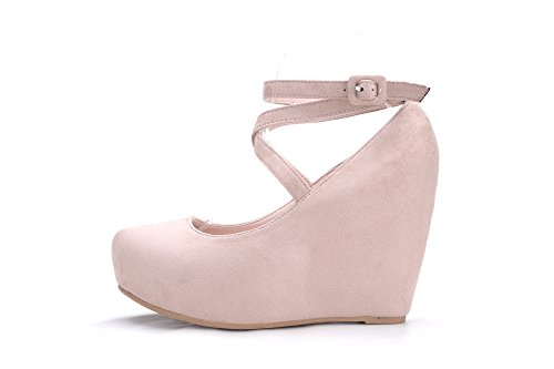 Scarpe Da Donna Mila Lady Con Zeppa Alta Slip On Shoes (gigi-2) Nude