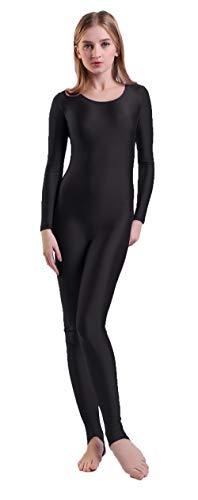 Unitard Dancewear (Kepblom Womens Scoop Neck Long Sleeve Stirrup Foot Unitard Dancewear Bodysuit)