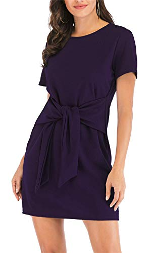 (MIDOSOO Womens Solid Color Short Sleeve Wear to Work Pencil Dress with Belt #2Purple XL)