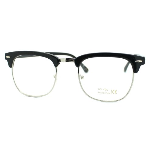 Master Pro Glass (Black Silver Clear Lens Club Master Half Rim Fashion Eye Glasses)