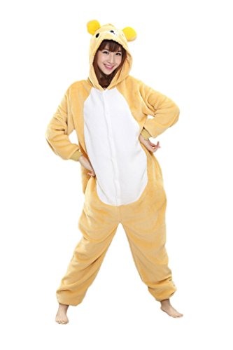 [I'MQueen Girl's Sleepwear Rilakkuma Onesie Pajamas Adult Cartoon Cosplay Costumes] (Pajamas Dance Costumes)