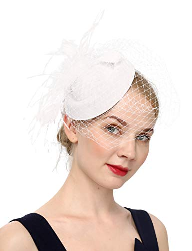 Fascinators Hats 20s 50s Hat Pillbox Hat Cocktail Tea Party Headwear with Veil for Girls and Women (B-Beige) -