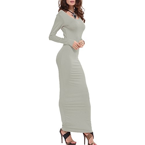 Long Bodycon Maxi Dress Women's Sleeve Deofean Slim Elegant Grey qFwtz1