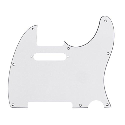 IKN 3Ply Tele Guitar Pickguard 8 Hole for Tele Style Guitar, White, w/Screws (Best Tele Style Guitar)