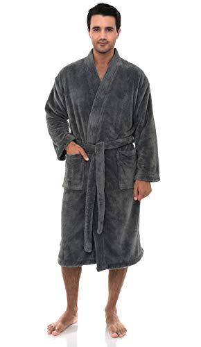 TowelSelections Super Soft Plush Kimono Bathrobe Fleece Spa Robe for Men Large/X-Large Frost Gray