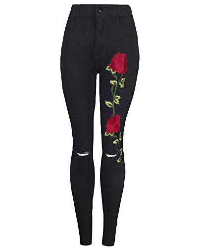 Pantalones Rotos Bordado Skinny Negro Mezclilla Alta Jeans de Pantalones Cintura Leggings Vaqueros Mujer AXqaBHAg