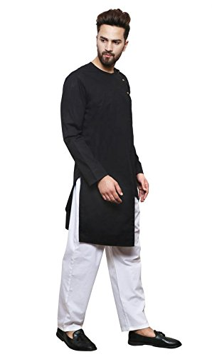 94338694 Color Opera Kreation Men's New Style Solid Black Straight Kurta: Amazon.in:  Clothing & Accessories