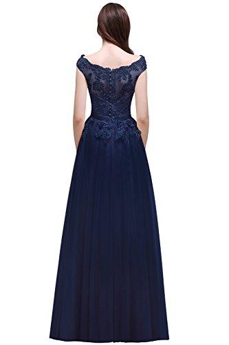 Navy MisShow Abiballkleid Blau 46 Spitze Abendkleid Damen lang 2017 Tüllkleid Brautjungfernkleid Applique Elegant 32 f6Sxq7