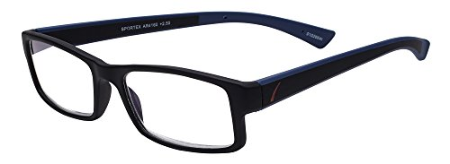 (Sportex Readers Rectangular Men's Reading Glasses Plastic Frame, Blue, 1.50)