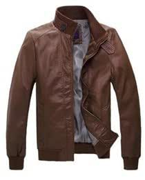 Fashion Thick Zipper Standing Collar PU Leather Men's Jackets