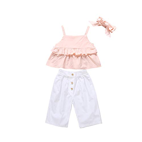 Toddler Baby Girl Tassels Ruffled Halter Crop Tops+Button Down White Wide Legging Pants 3Pcs Summer Strap Outfits -