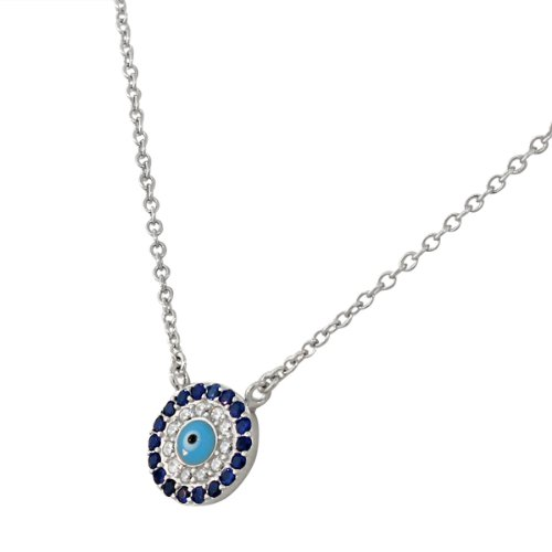 925 Sterling Silver Evil Eye Hamsa White Blue CZ Womens Pendant Necklace by My Daily Styles (Image #1)