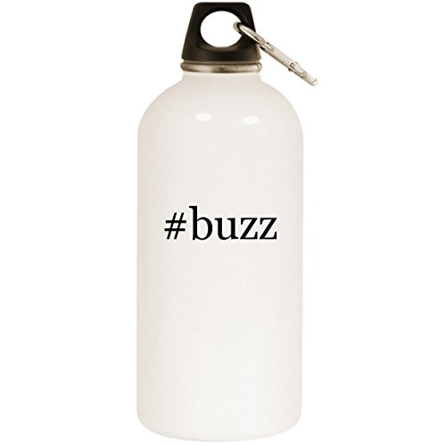 Molandra Products #Buzz - White Hashtag 20oz Stainless Steel Water Bottle with Carabiner (Gi Joe Buzz Aldrin)