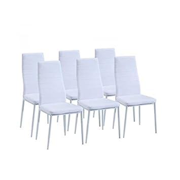 SAM Lot De Chaises De Salle A Manger Blanches Amazonfr - Lot de 6 chaise salle a manger