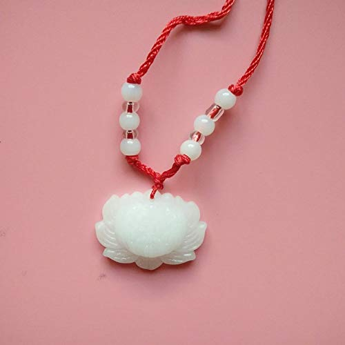 - loss promotion high imitation white jade snow lotus necklace pendant chain pendants derivative anniversary gifts (lotus [+] red string beads machine 8