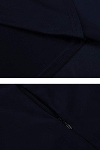 Dozenla Couleur Unie Slim Fit Mancherons Et Flare Robes Porm Bleu Marine