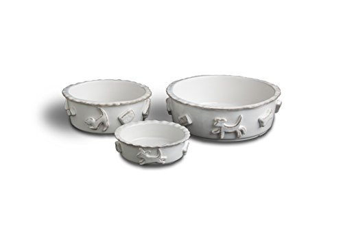 Carmel Ceramica PDMW3010 Dog Food/Water Bowl, French White, Medium For Sale