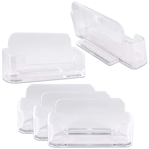 5 Pack Beauticom Premium Business Name Card Holder - Desktop Counter-top Acrylic Plastic Single Display Stand for Professional Personal Home Office Use