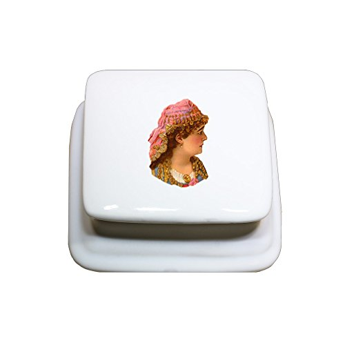 Arab Costume Jewellery (Woman In Arab Costume Vintage Look Porcelain Ceramic Treasure Jewelry Box Square)