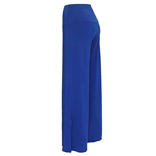 Mujer Pantalones Talle Alto Largos De Pernera Ancha Para Yoga Casual Pantalón Zafiro