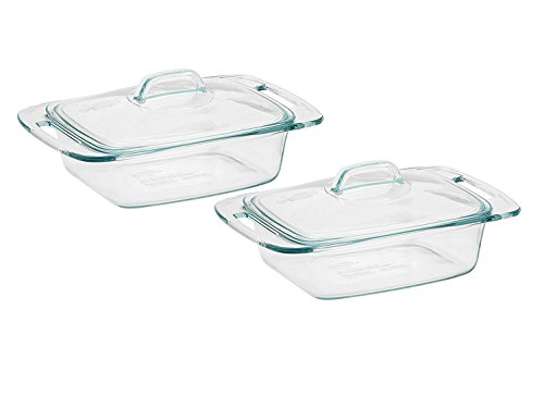 Set of 2 Pyrex Easy Grab 2-qt Casserole bundled by Maven Gifts (Glass Bowls Big For Sale)