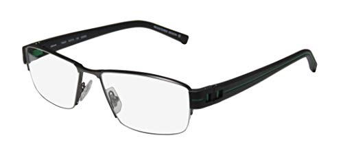 Oga By Morel 7922o For Men Designer Half-rim Flexible Hinges Must Have Original Case Modern Hip Eyeglasses/Spectacles (54-16-135, Gunmetal/Black/Green) ()