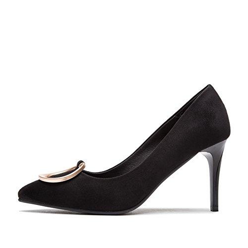 Ladies  Round Schnalle Schuhe,Wilde Leichte Schuhe,Zinke High Heels-A Fußlänge=22.3CM(8.8Inch)