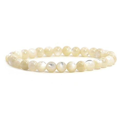 """Natural Mother Of Pearl Shell Gemstone 6mm Round Beads Stretch Bracelet 6.5"""" Unisex"""