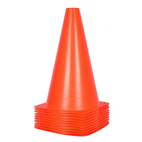 9 inch Orange Traffic Cones - 10 Pack of Field Marker Cones for Outdoor Activity & Festive Events (Orange) ()