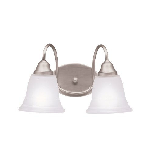 (Kichler Lighting 5912NI Norwich 2-Light Wall Mount Bath Fixture, Brushed Nickel with Satin-Etched)