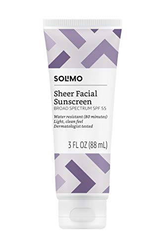 Amazon Brand - Solimo Sheer Face Sunscreen SPF 55, 3.0 Fluid Ounce (Pack of 1) (Best Sunscreen For Your Face)