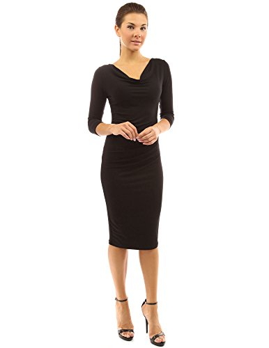 Pleated Cowl Neck Dress (PattyBoutik Women's Cowl Neck 3/4 Sleeves Pleated Detail Dress (Black M))