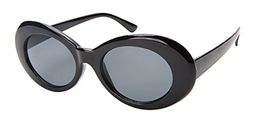 Edge I-Wear Retro Inspired Plastic Oval Sunglasses with Sold Lens 34107-SD-2(BLK/GY - Sunglasses Women For I