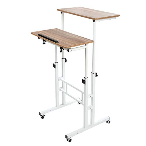 BarleyHome Mobile Stand Up Desk, Adjustable Laptop Desk with Wheels Home Office Workstation, Rolling Table Laptop Cart for Standing or Sitting, Vinatge Oak (Cart Stand Up Computer)
