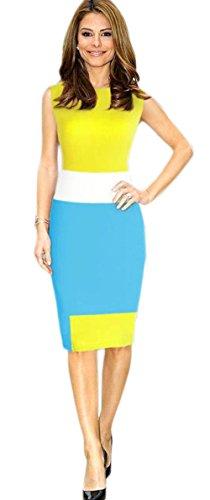 Amoin Women's Splicing Sleeveless Pencil Dress 6337,Large,Yellow