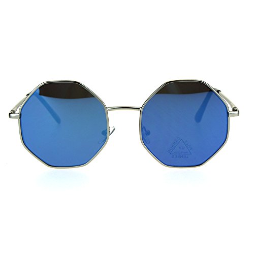 Retro Hippie Octagon Groovy Color Mirror Metal Sunglasses Silver - Dope Sunglasses