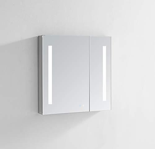 AQUADOM Signature Royale - clóset de vidrio con espejo retroiluminado para baño, 3D, LED, luz de temperatura, luz fría,...