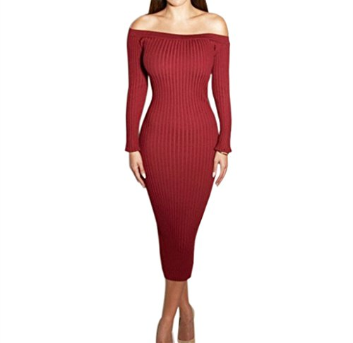 Yizenge Long sleeve Off Shoulder Sweaters Sexy Autumn Soft Tight Elastic Dress (L, Red)