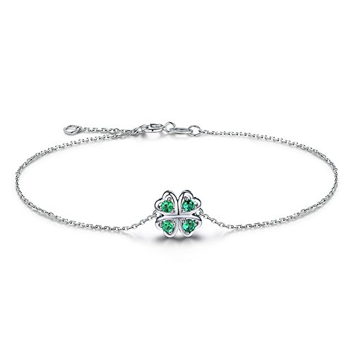 (Natural Green Emerald Clover Solid 14k White Gold Infinity Unique Bangle Bracelet May Birthstone Gift)
