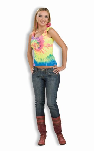 Forum Novelties Women's 60's Hippie Revolution Tye Dye Tank Top, Rainbow, (Bright Tie Dye Tank Top)
